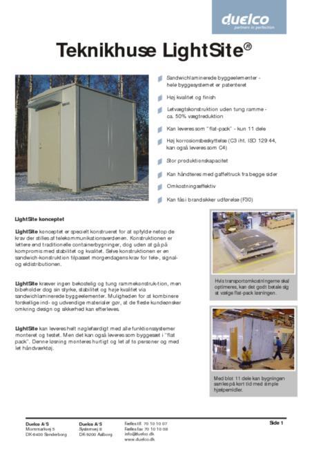 Duelco LightSite housing brochure