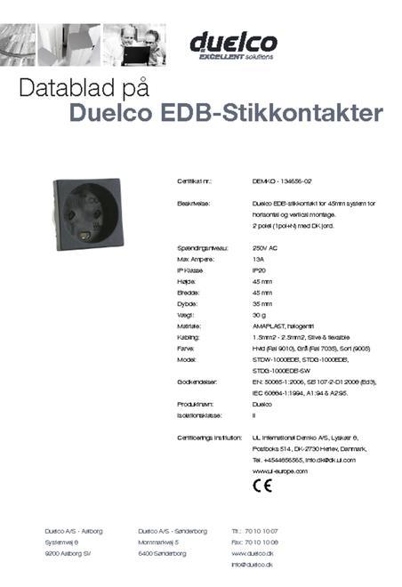 EDB stikkontakt datablad