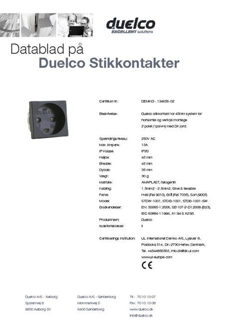 Dansk Alm. Stikkontakt datablad