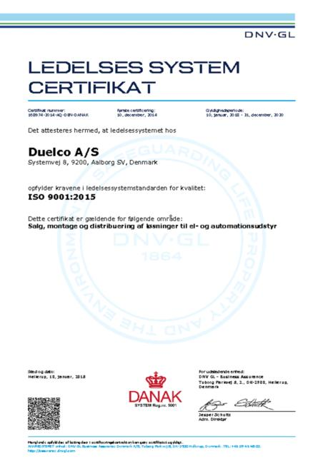 Duelco ISO 9001:2015 certifikat