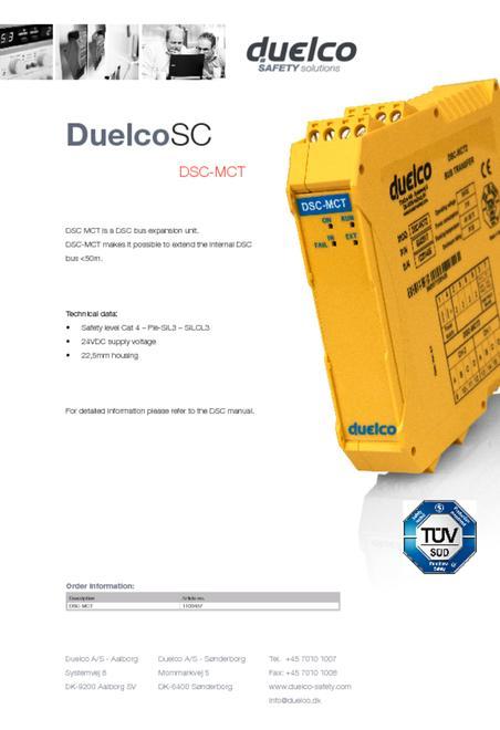 Duelco DSC-MCT datablad
