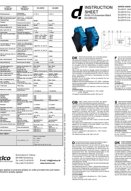 Duelco NST-2001 manual