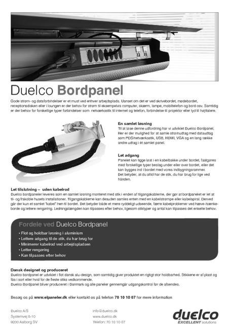 Duelco bord strømskinne brochure